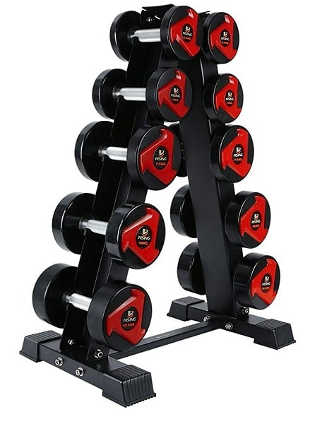 AKYEN A-Frame Stand Dumbbell Rack with 5 Tiers for home gym