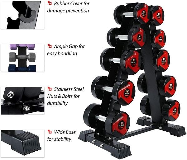 AKYEN A-Frame vertical Dumbbell Rack features