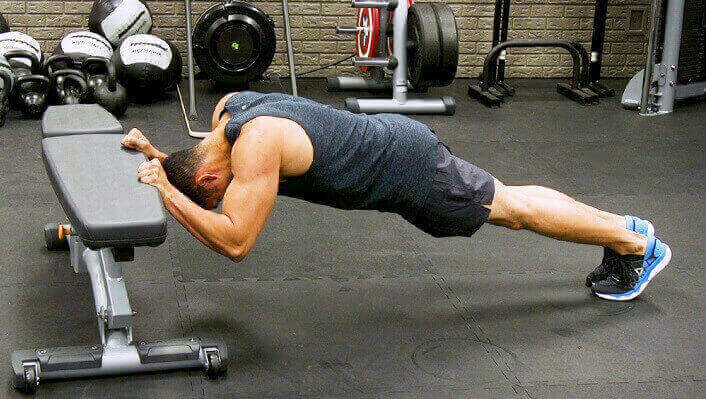 Bodyweight Triceps Extensions using a bench