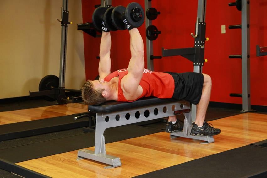 Chest exercise 2 Step 2 - Flat Bench Dumbbell Press