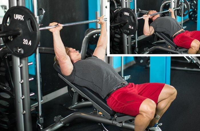 Chest exercise 3 - Low Incline Barbell Bench Press
