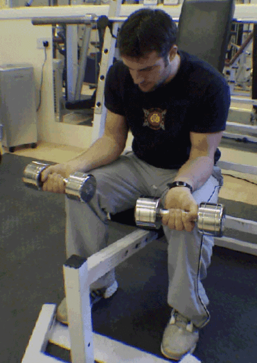 Dumbbell Wrist Flexion Forearms Exercise 6 step 1