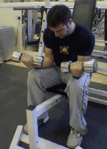 Dumbbell Wrist Flexion Forearms Exercise 6 step 2