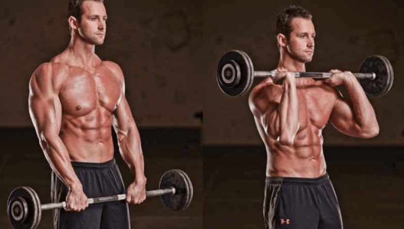 Barbell Reverse Curl Forearms Exercise 2