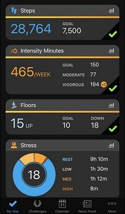 Garmin vivoactive 3 tracker activity for stress level - steps - intensity