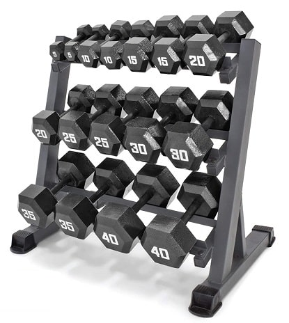 Marcy 3 Tier Steel Dumbbell Weight Rack Storage for Home Workout Gym