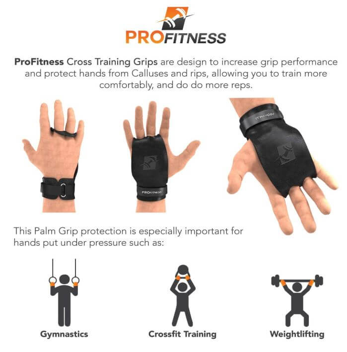 ProFitness Leather Crossfit Training Grips - Non Slip