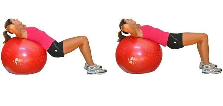Spine Workout women 5 - Pelvic Tilt over Medicine Ball
