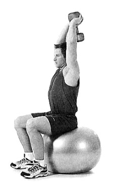 Triceps exercise 5 Swiss-Ball Overhead Triceps Extension