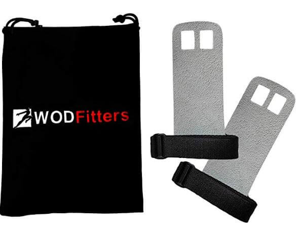 WODFitters Textured Leather crossfit Grips for Training with grip bag